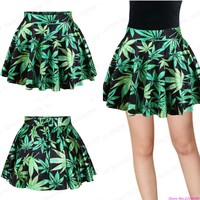 Hot Sale Green Leaf Print MiniSkirts Women Slim Fit Pleated Tennis Exercise Skirts Cheerleading Sport Kilts