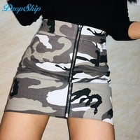 Dropship Zipper High Waist Mini Skirt Women Camouflage Sexy Short Harajuku Printed Fashion Short Denim Skirts Femme Camo Skirt