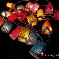 Chinese Mini Lantern Paper Party Mixed Color Set String Lights For Wedding and House decoration (20 Flowers/Set)