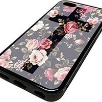 iPhone 5C Cases for Girls Roses Floral Cross Teal Popular Cute Cover Skin BLACK RUBBER SILICONE Teen Gift Vintage Hipster Fashion Design Art Print Cell Phone Accessories