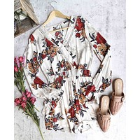 blu pepper - without you - floral romper - taupe