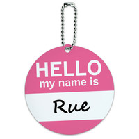 Rue Hello My Name Is Round ID Card Luggage Tag
