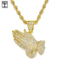 """Jewelry Kay style 14K Gold Plated Iced Out Pray Hand Pendant 30"""" Rope Chain Necklace HC 5084 G"""