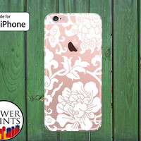 White Flower Pattern Ornate Floral Vines Tumblr Cute Clear Rubber Phone Case for iPhone 5/5s and 5c and iPhone 6 and 6 Plus + and iPhone 6s