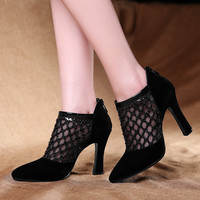 Kickway2015 new high-heeled shoes woman pumps party shoes women mesh lace fashion summer boots shoes red bottom high heels WD185
