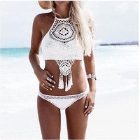 2016 knitting Swimsuit Crochet Bikini Bohemia Style Off Shoulder High Neck  Bathing Beach Bikinis