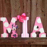 """9"""" Pink and white, Minnie Mouse, Character Letter Wall Hangings, Name Room Decoration, Girl's Room Decor, Glitter Polka Dots"""