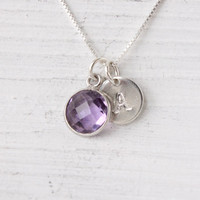 Amethyst necklace, sterling silver with genuine gemstone and stamped letter initial, February birthstone, February birthday gift, bezel gem