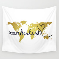 Wanderlust World Map Wall Tapestry Hanging, World Map Decor, Home Decor, World Map Art, Map of the World, Faux Gold Foil, Inspirational