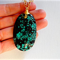Handmade Large Green Turquoise & 14k Gold Fill Chain Pendant Necklace; Gift for Her; Large Turquoise Layering Statement Necklace