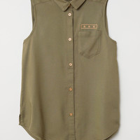 Sleeveless Blouse - Khaki green - Kids | H&M US