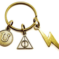 Harry Potter inspired Deathly Hallows keyring, keychain, bag charm, purse charm, monogram personalized custom gifts under 10 item No.370