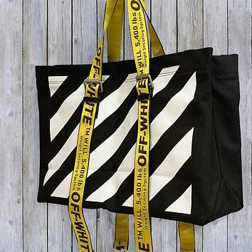 Off White bag Striped canvas bag Tote Fitness bag Travel bag   Men's and women's shoulder bags Shopping bag