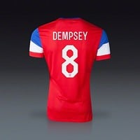 Authentic Nike Clint Dempsey #8 USA 2014 FIFA World Cup Large Red White & Blue Away Players Issue Soccer Jersey