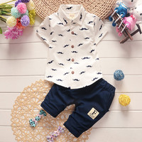 2016 Summer Baby Boys Clothes Suits Gentlehttps://app.oberlo.com/import?spm=2114.12010108.0.0.9BeWqX#man Style Kids Lovely beard Lapel Shirt+Pants 2 Pcs Infant Casual Suits Children Sets
