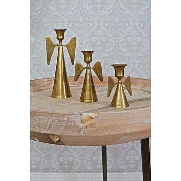 Vintage Brass Angel  Trio Candle Holders