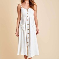 Vintage Havana Button Front Linen Dress