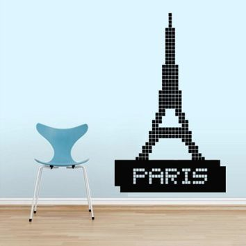 wall decals pixel eiffel tower paris from amazon wall decals. Black Bedroom Furniture Sets. Home Design Ideas