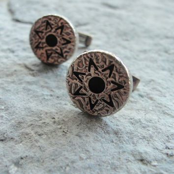 Sun Star Cuff links Solid Sterling Silver with Black Enamel Cufflinks