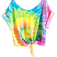 Tie Dye Crop Top Coachella Crop Top TieDye Tshirt Women's Clothing Music Festival Tumblr Tee Hippie Style Tops Hipster Summer Wear