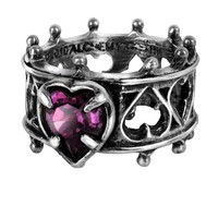 Alchemy Gothic Elizabethan Purple Heart Ring