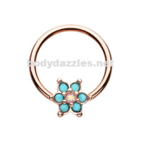 Rose Gold Turquoise Spring Flower Sparkle Steel Captive Bead Ring 16ga 14ga Belly Ring Cartilage Tragus Daith Helix Rook