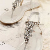 European Style Bling Rhinestone Thong Sandals from perfectmall