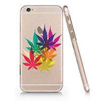 Rainbow Cannabis Weed Leaves Clear Transparent Plastic Phone Case Phone Cover for Iphone 6 6s_ SUPERTRAMPshop (VAS615.6sl)
