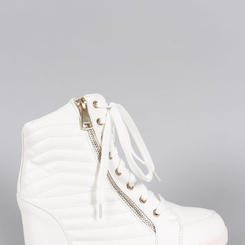Liliana Quilted High Top Wedge Sneaker