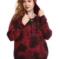 Red & Black Tie Dye Lace-Up Girls Hoodie Plus Size