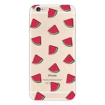Luxury Transparent Red Watermelon Slices Collage Painting Elaborate Silicon Phone Case Cover Shell For Apple iPhone 5 5S SE