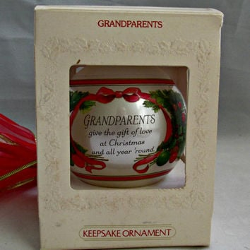 Christmas Collectible Glass Keepsake Ornament Grandparents 1981 Hallmark Cards