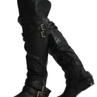 Black Leatherette Double Buckle Cuff Over the Knee High Heel Boots Vickie 16 HI,Vickie-16H-Blackv1.0 5.5
