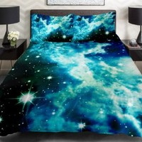 Anlye Galaxy Quilt Cover Galaxy Duvet Cover Galaxy Sheets Outer Space Bedding Set with 2 Matching Pillow Covers (Full)