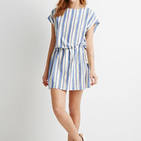 Striped Shift Drawstring Dress