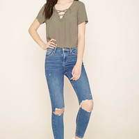 Lace-Up Textured Top - Tops - Blouses + Shirts - 2000222922 - Forever 21 EU English