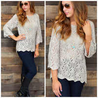 Something To Talk About Gray Knit Sweater