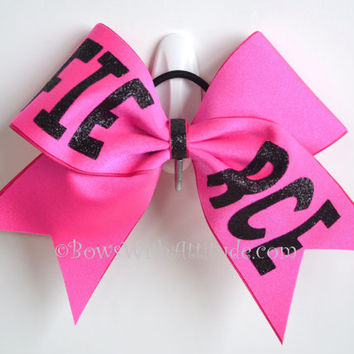 """CUSTOM 3"""" Wide Luxury Cheer Bow - Red Bow with TRIBE in black"""