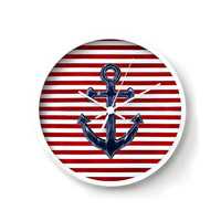 Nautical Wall Clock, navy blue anchor on red and white stripes background, anchor wall decor