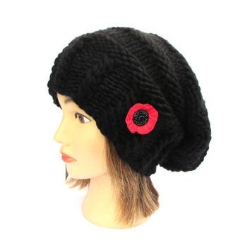 Black slouchy beanie hat with poppy button - chunky knit slouch hat - black knitted hat - poppy flower hat - womens hat - christmas gift