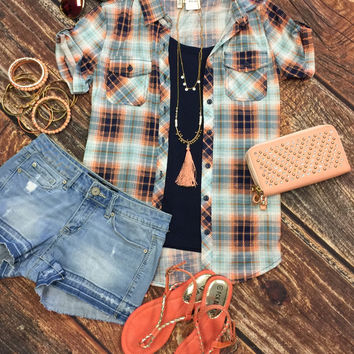 Penny Plaid Flannel Top Short Sleeve: Blue/Peach