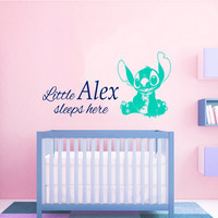 Little Baby Sleeps Here Wall Decal Quote Lilo and Stitch Vinyl Stickers Name Decal Boy Girl Art Mural Home Kids Bedroom Nursery Decor KI112