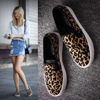 Leopard print canvas shoes female cloth shoes