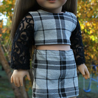 18 inch doll clothes, black, lace , plaid, crop top and grey, black plaid mini skirt