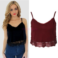 New Fashion Sexy Ladies V-neck Vest Harness Camis Crop Tops Black Wine Red Women lace Tops Sleeveless SV014045|42101 = 1956703812