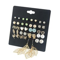 Punk 20 Pairs Pack Leaf Stud Earring Set for Women Fashion Owl Butterfly Heart Charms Ear Studs Simulated Pearl Brincos Jewelry