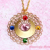 Sailor Moon Necklace - MOON PRISM POWER Sailor Moon Transformation Brooch Inspired Gold Sailor Moon Necklace - Handmade Jewelry Gift