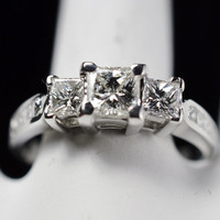 1.15 Carats t.w. Diamond Engagement/Wedding Ring 14K Gold 3 Princess Diamonds are 0.95 Carats 5,025 Retail
