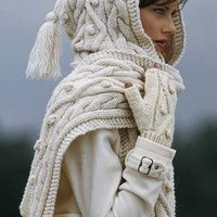 Hand Knit Hood Scarf  with cables  From Merino Wool