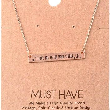 Must Have Necklace-I Love You to the Moon and Back, Rose Gold